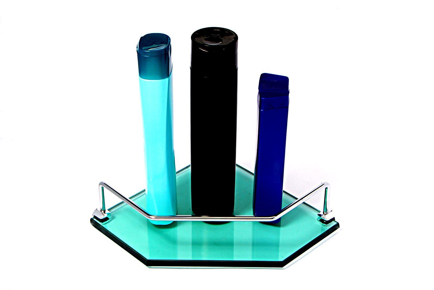 Porta Shampoo Canto Reto em Vidro Verde Lapidado - Aquabox  - 20cmx20cmx10mm