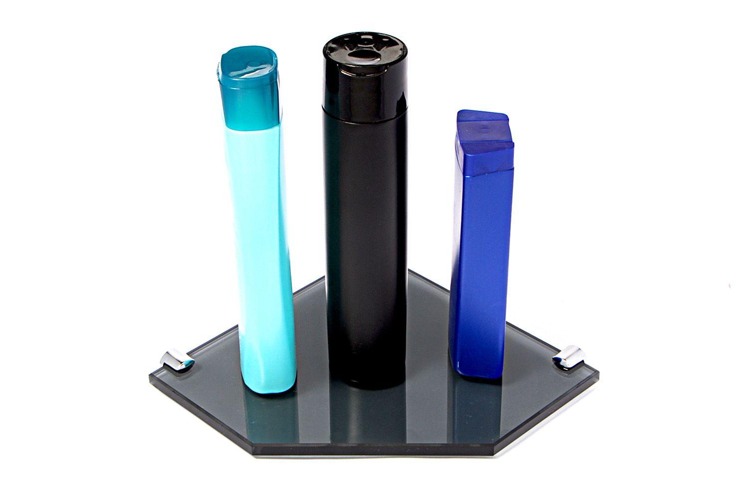 Porta Shampoo de Canto Reto em Vidro Fumê Lapidado - Aquabox  - 20cmx20cmx10mm