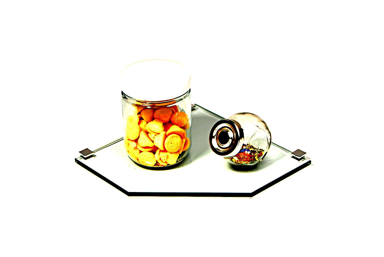 Porta Shampoo Canto Reto em Vidro Incolor Lapidado - Aquabox  - 25cmx25cmx8mm