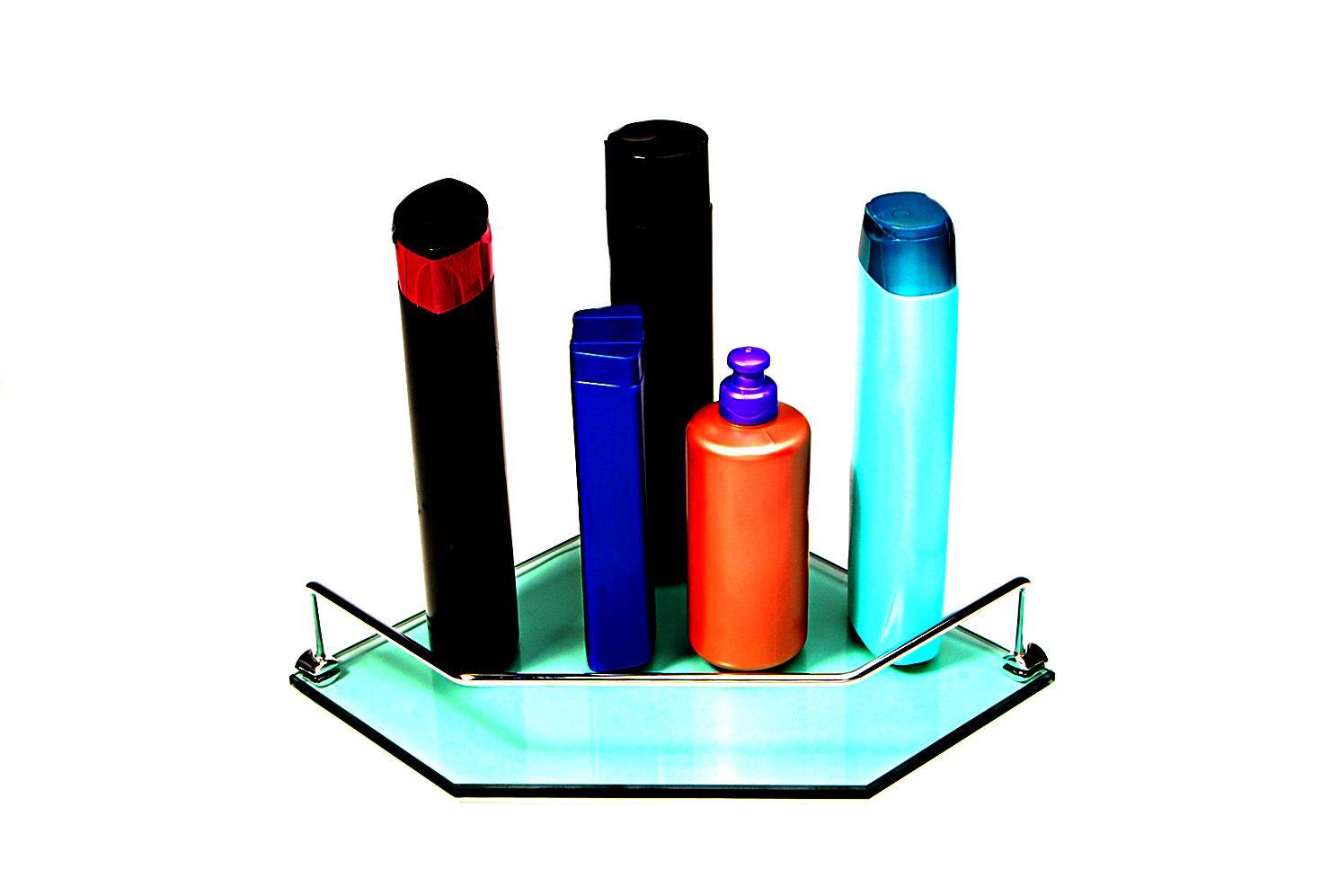 Porta Shampoo Canto Reto em Vidro Verde Lapidado - Aquabox  - 25cmx25cmx8mm