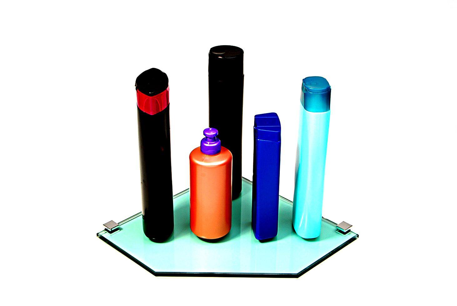 Porta Shampoo de Canto Reto em Vidro Verde Lapidado - Aquabox  - 25cmx25cmx8mm
