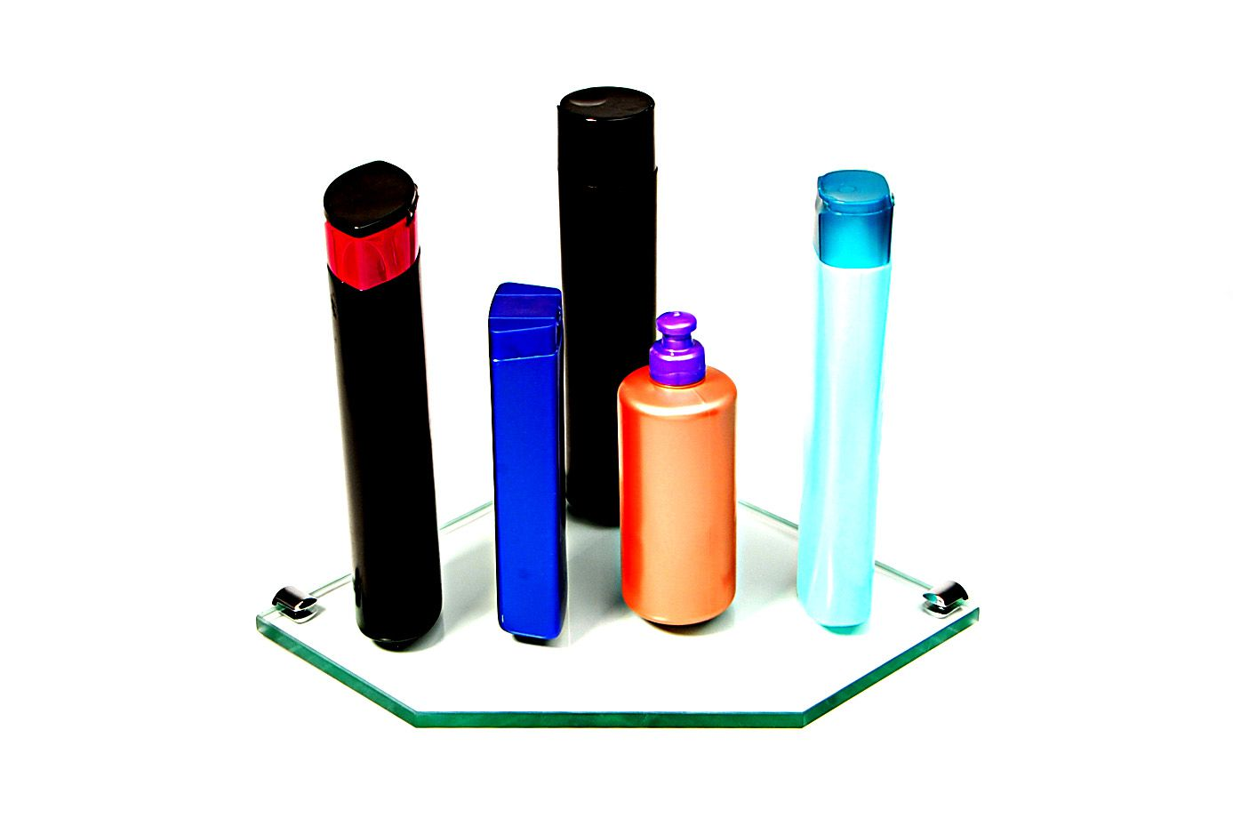Porta Shampoo Canto Reto em Vidro Incolor Lapidado - Aquabox  - 25cmx25cmx10mm