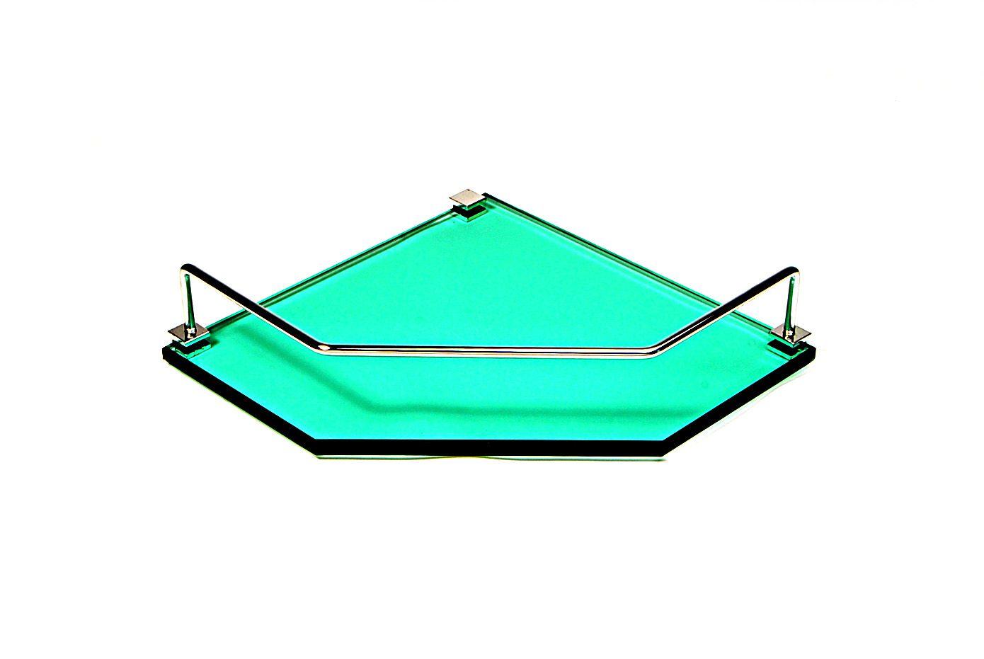 Porta Shampoo Canto Reto em Vidro Verde Lapidado - Aquabox  - 25cmx25cmx10mm