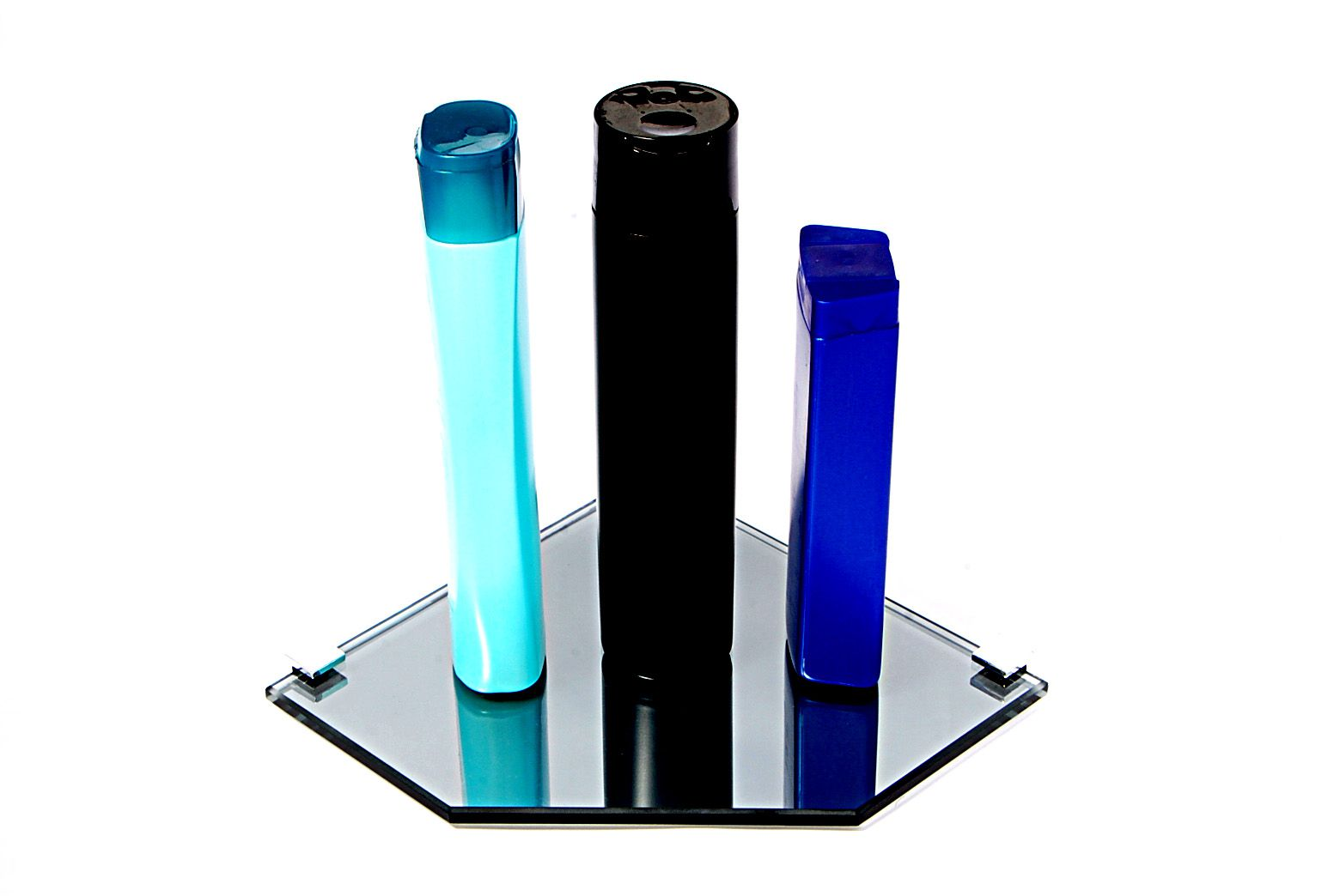 Porta Shampoo Canto Reto em Vidro Refletivo Lapidado - Aquabox  - 20cmx20cmx8mm