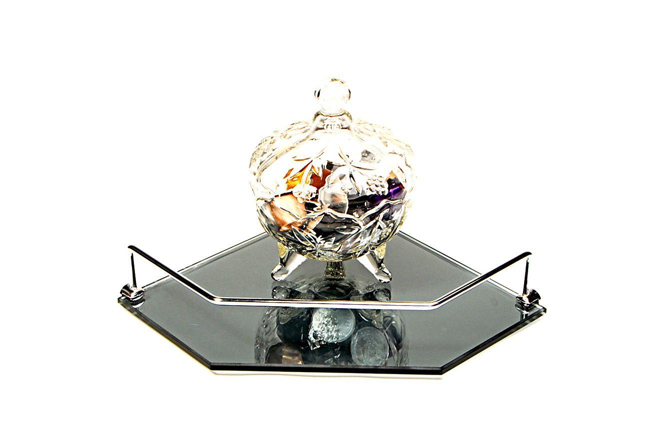 Porta Shampoo de Canto Reto em Vidro Refletivo Lapidado - Aquabox  - 25cmx25cmx8mm