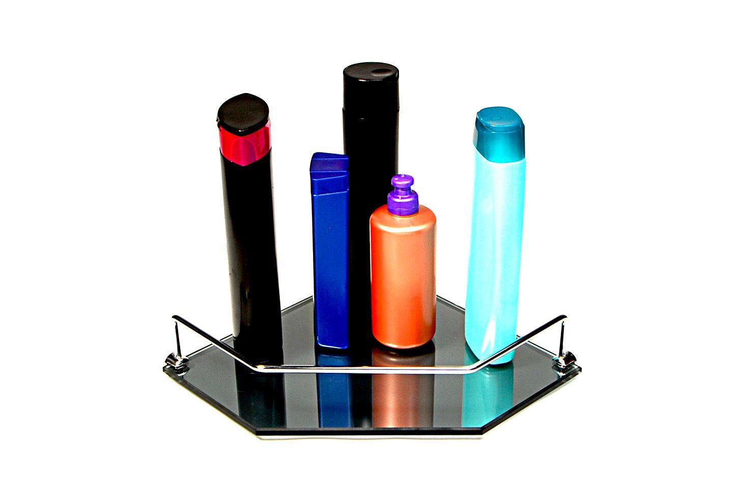Porta Shampoo Canto Reto em Vidro Refletivo Lapidado - Aquabox  - 25cmx25cmx8mm