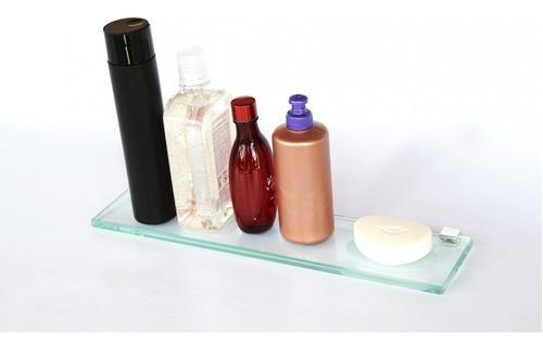 Porta Shampoo Reto com Rebaixo Saboneteira Vidro Incolor Lapidado - Aquabox  - 40cmx9cmx10mm