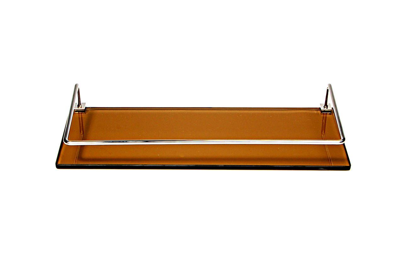 Porta Shampoo Reto em Vidro Bronze Lapidado - Aquabox  - 40cmx14cmx8mm