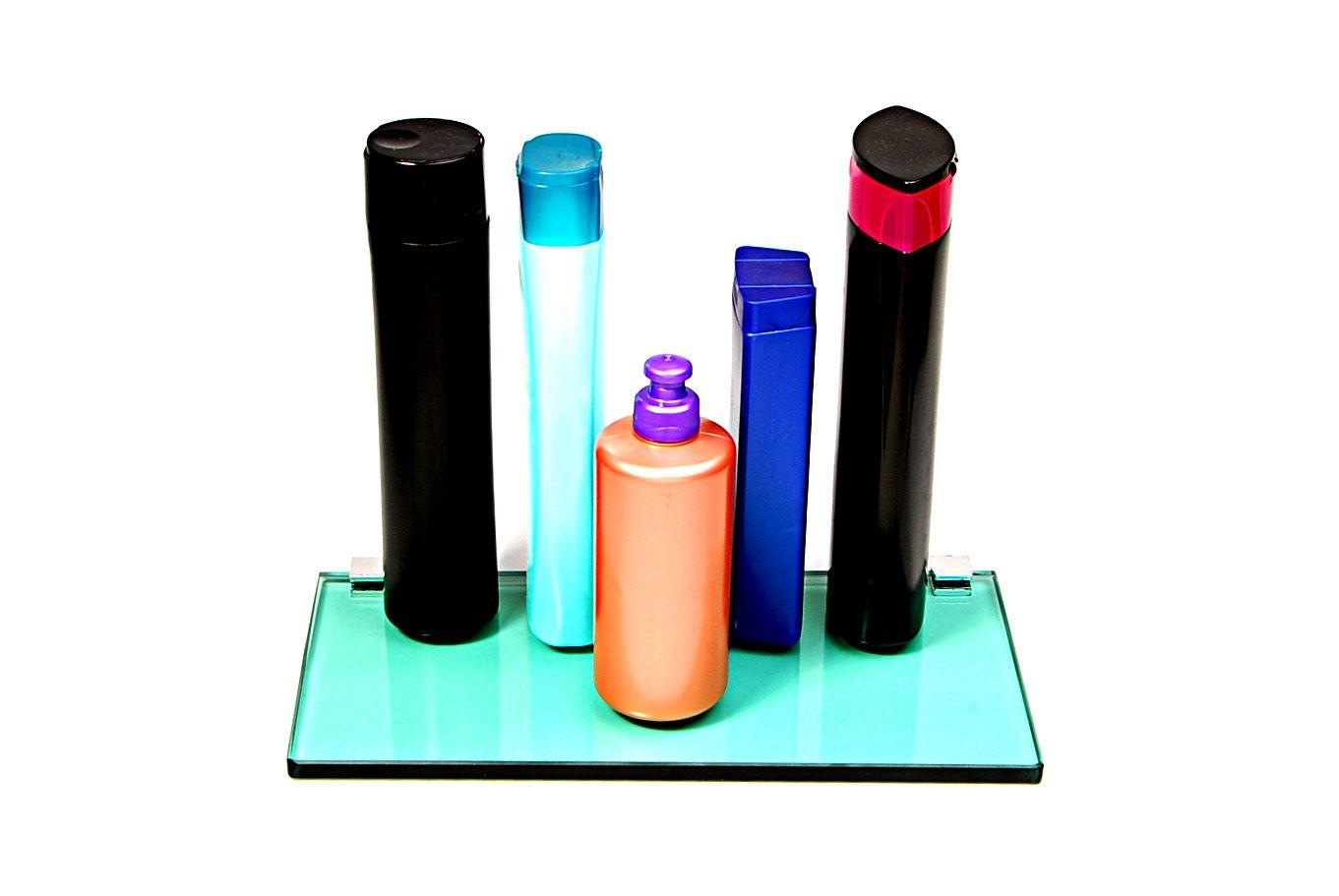 Porta Shampoo Reto em Vidro Verde Lapidado - Aquabox  - 30cmx14cmx10mm