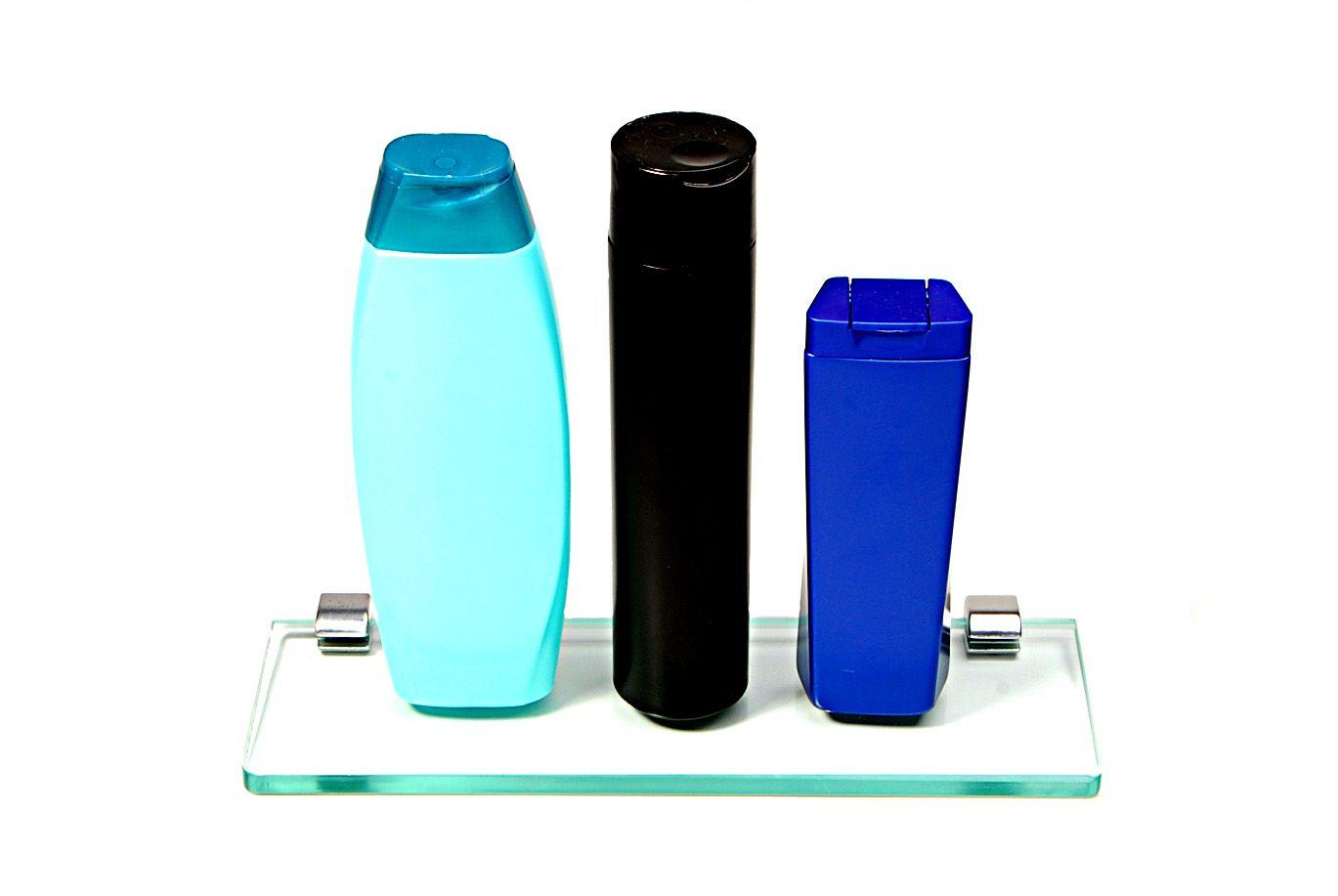 Porta Shampoo Reto em Vidro Incolor Lapidado - Aquabox  - 30cmx9cmx10mm