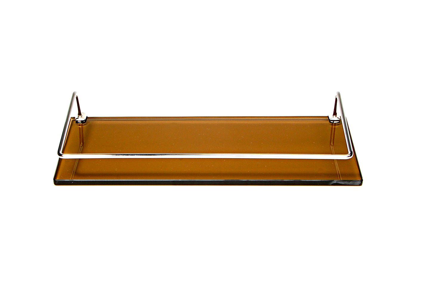 Porta Shampoo Reto em Vidro Bronze Lapidado - Aquabox  - 40cmx14cmx10mm
