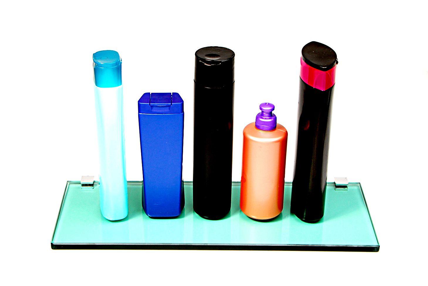 Porta Shampoo Reto em Vidro Verde Lapidado- Aquabox  - 40cmx14cmx10mm