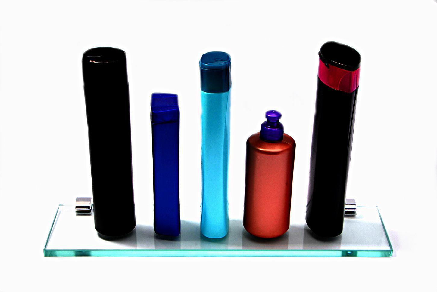 Porta Shampoo Reto em Vidro Incolor Lapidado - Aquabox  - 40cmx9cmx10mm