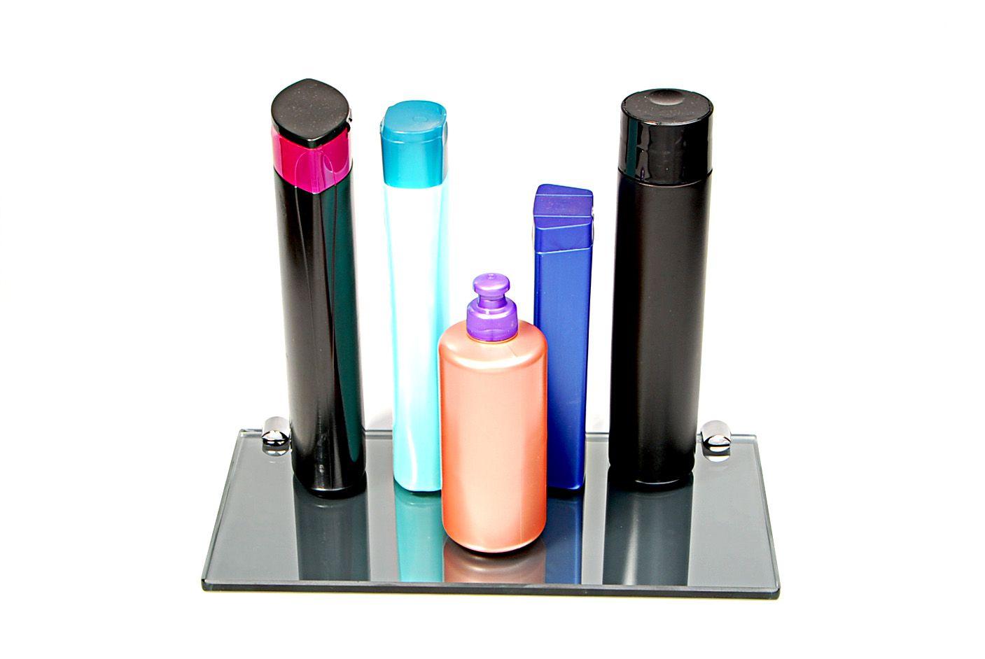Porta Shampoo Reto em Vidro Refletivo Lapidado - Aquabox  - 30cmx14cmx8mm