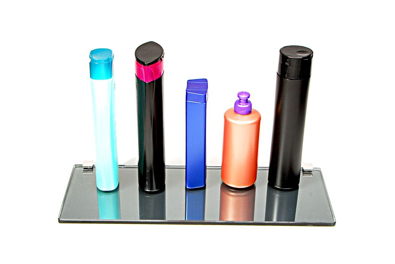 Porta Shampoo Reto em Vidro Refletivo Lapidado - Aquabox  - 40cmx14cmx8mm
