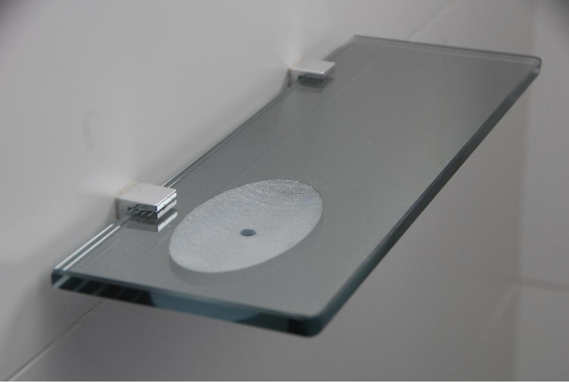 Porta Shampoo Reto Rebaixado para Sabonete em Vidro Refletivo Lapidado - Aquabox  - 40cmx9cmx8mm