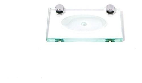 Saboneteira em Vidro Incolor Lapidado - Aquabox  - 14cmx9cmx8mm