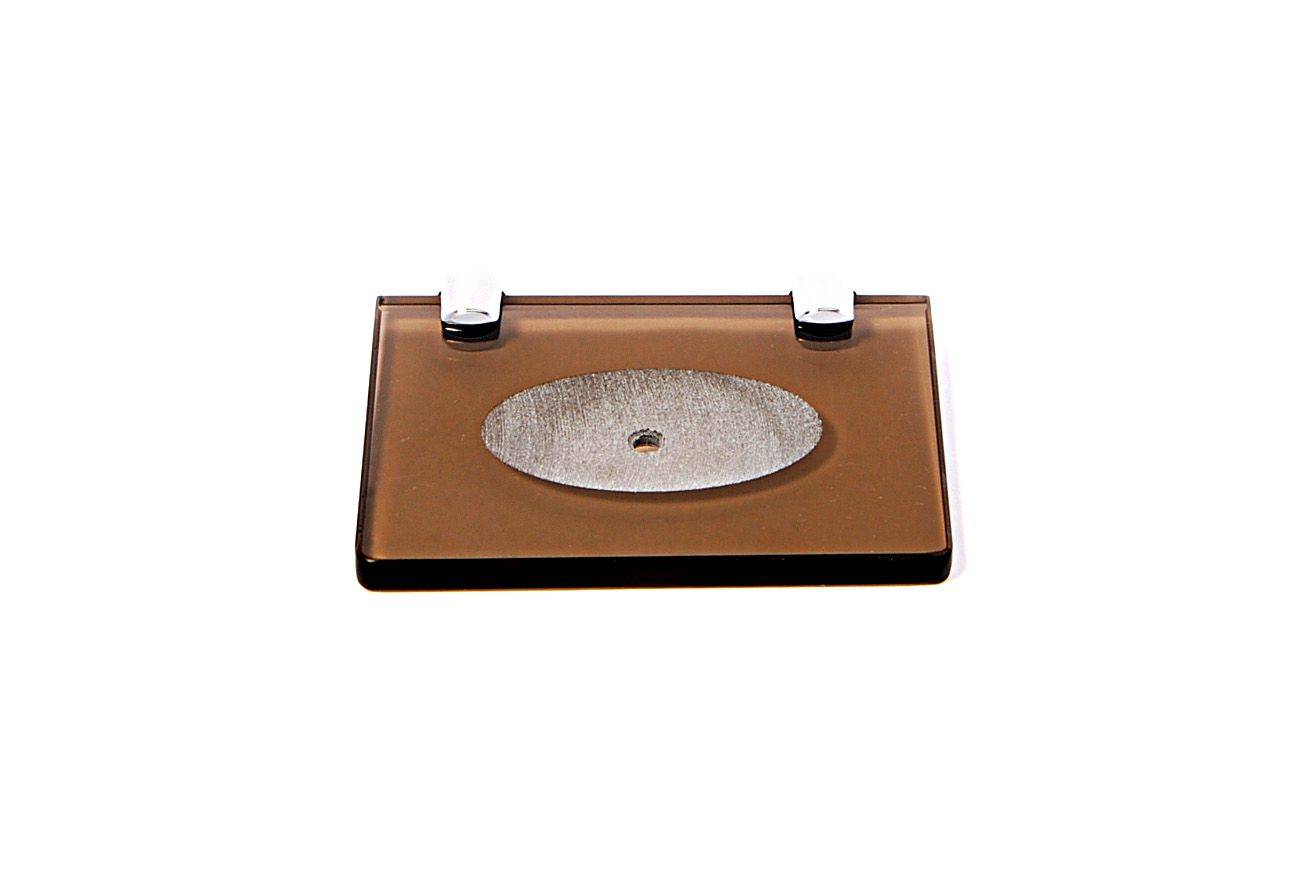 Saboneteira em Vidro Bronze Lapidado - Aquabox  - 14cmx9cmx10mm.