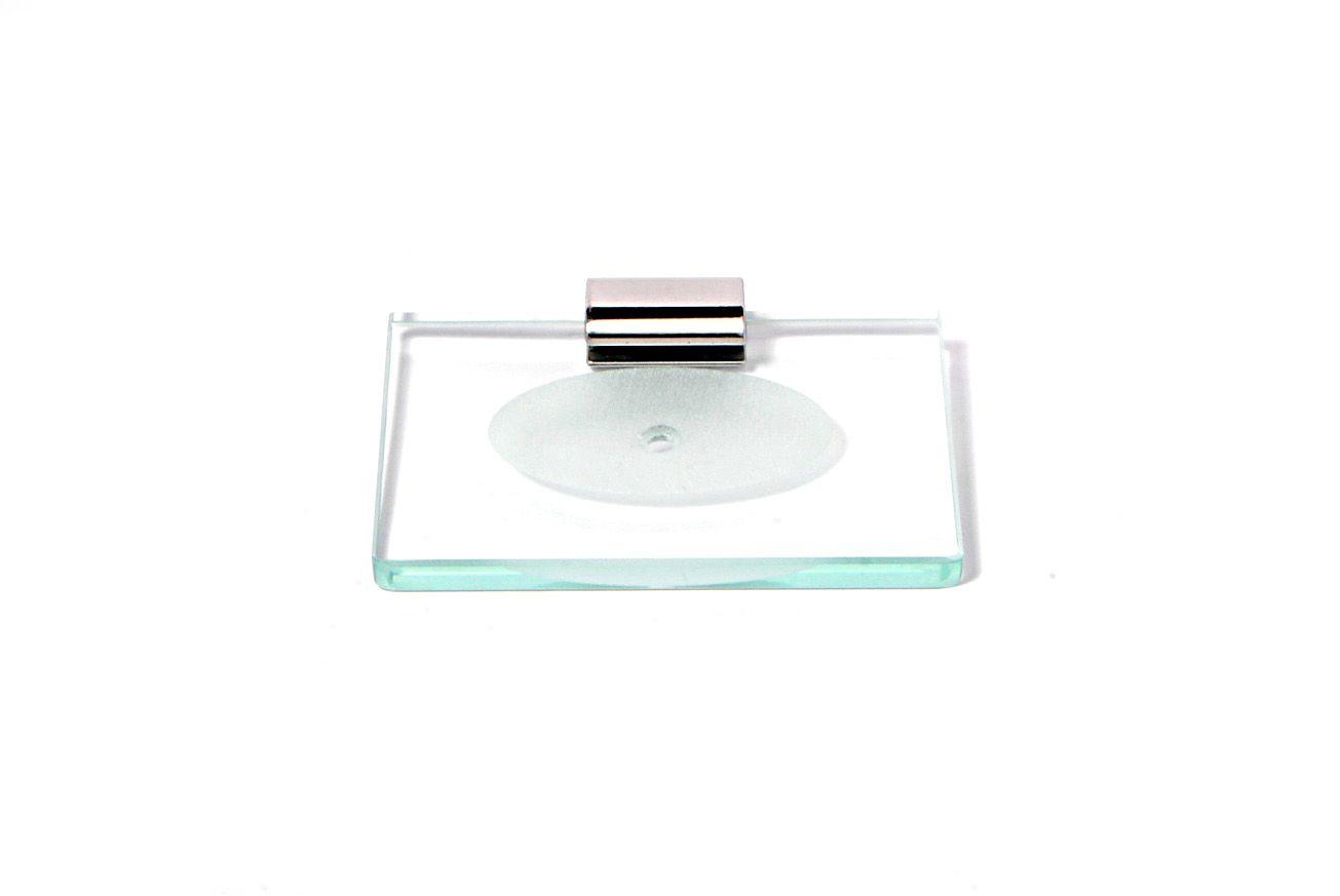 Saboneteira em Vidro Incolor Lapidado - Aquabox  - 14cmx9cmx10mm.