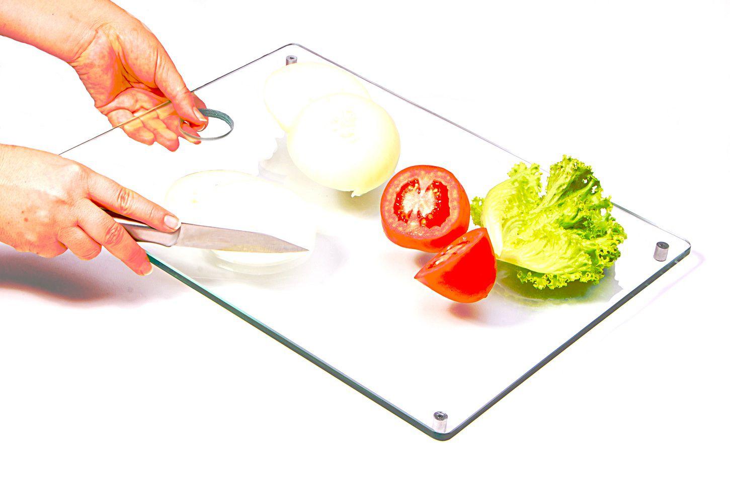 Tábua de carne e legumes grande incolor 8mm temperado 40cmx30cm Aquabox