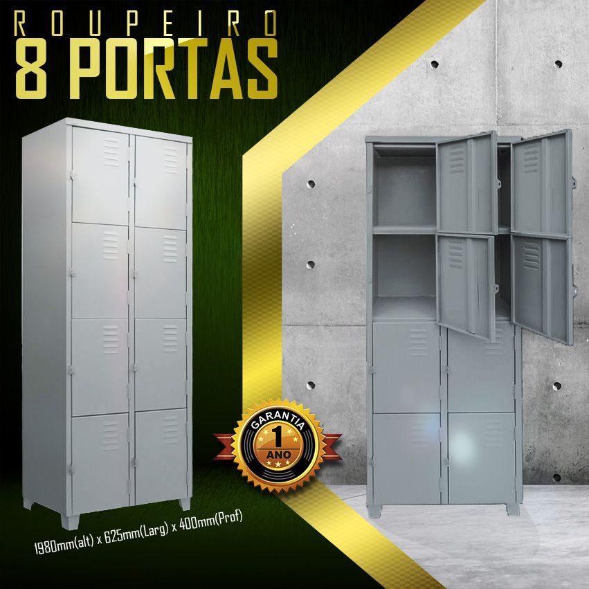 Roupeiro 8 portas pequenas  - LOJA EUROMOB