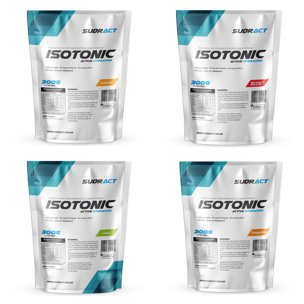 Kit 4 Isotônico Isotonic Sudract 300g - Sabores