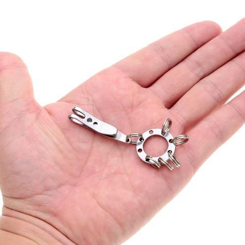 Clip Metálico em Inox Chaveiro c/ Argola para Canivete Fiel EDC