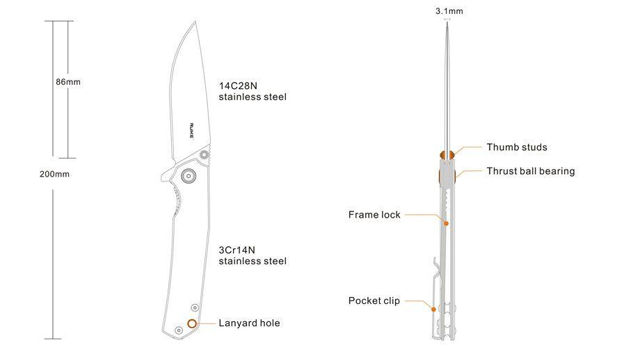 Canivete Ruike P801-SF Stonewash e Azul c/ Clip EDC