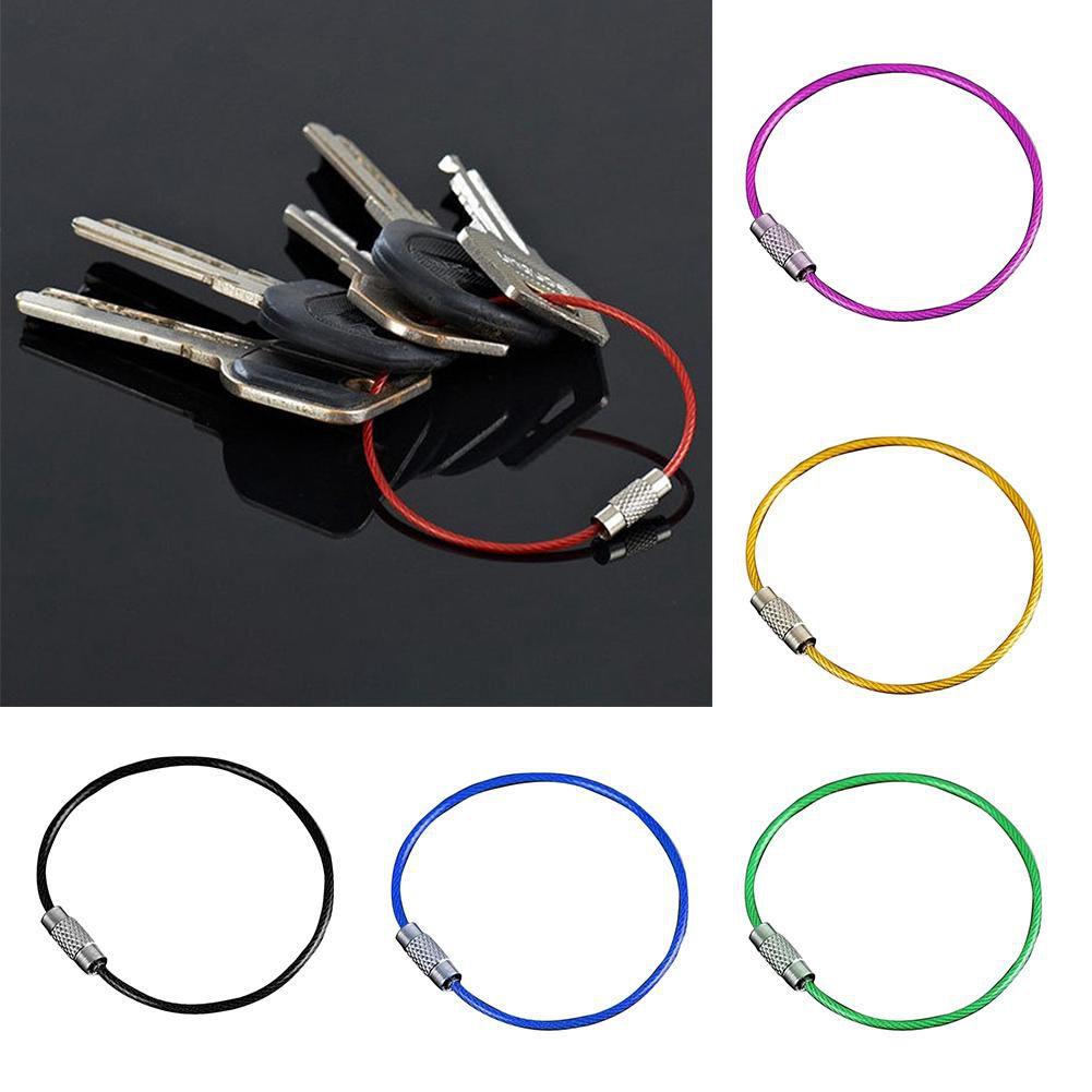 Kit de 6 Cabos de Aço Coloridos Chaveiro Argola Cores Chaves Mosquetão EDC
