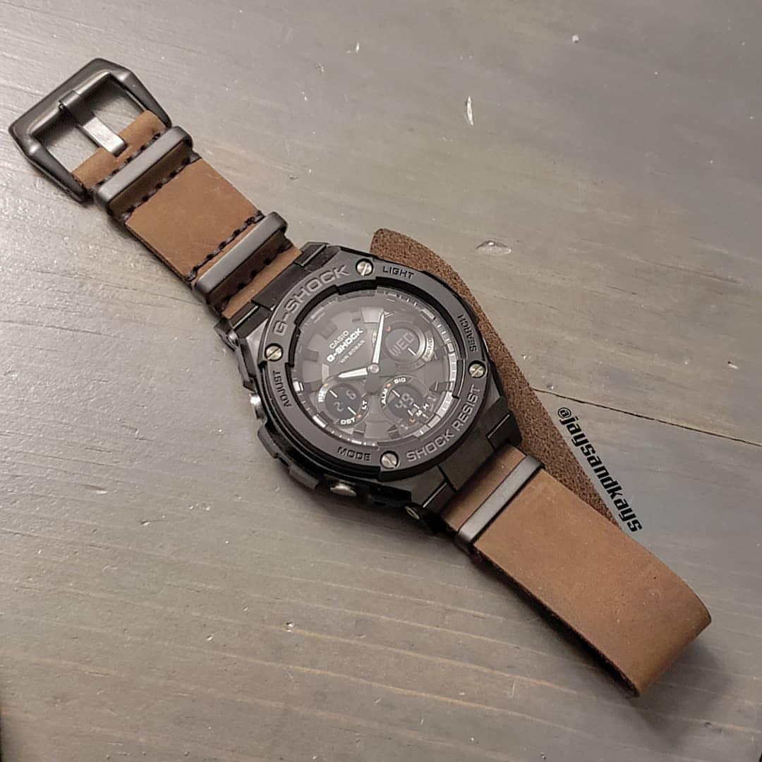Pulseira de Couro JaysAndKays p/ Relógio G-Shock Marrom ou Preta 22mm