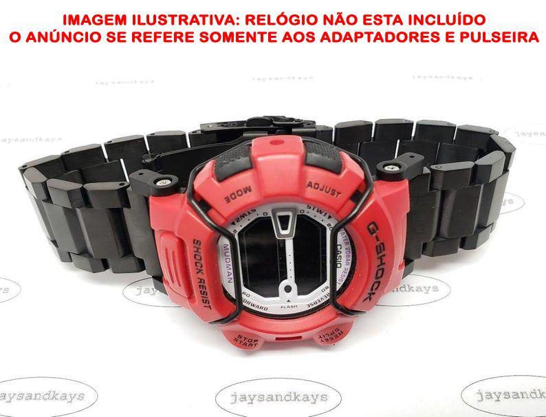 Pulseira em Aço Inox JaysAndKays p/ G-Shock Mudman G9000 GW9000 etc