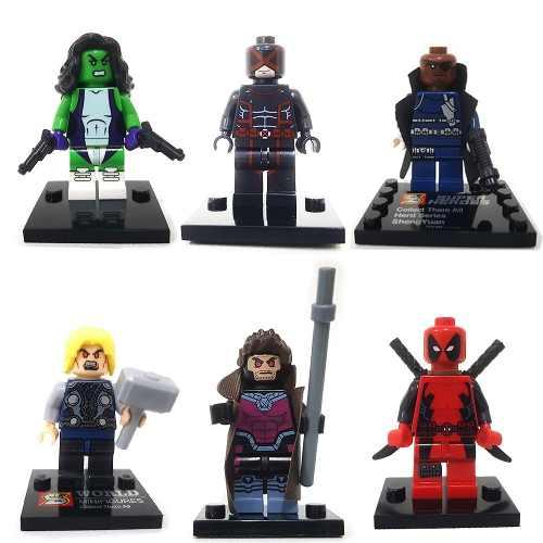 Kit 6 Blocos De Montar Marvel Super Heroes Mod 3