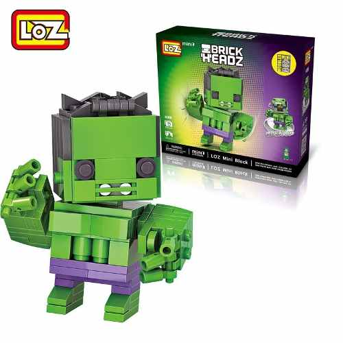 Bloco De Montar Hulk Loz Brick Headz