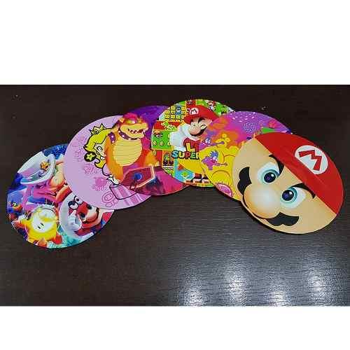 Porta Copo Artesanal Kit Com 6 Bolachas Cd Super Mario Bros