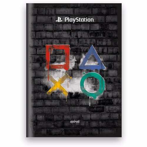 Caderno Playstation Spiral Brochura 48 Folhas Geek Original