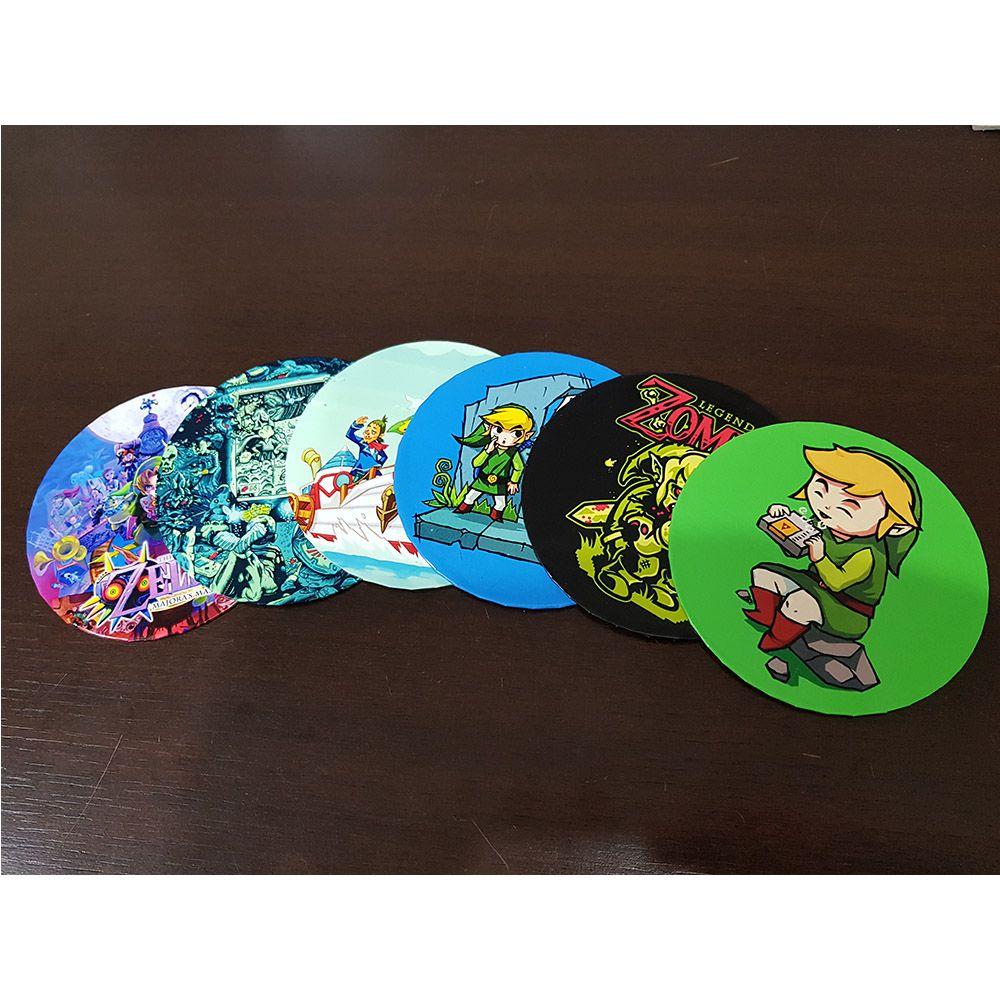 Porta Copo Artesanal Kit Com 6 Bolachas Cd Zelda Link Game