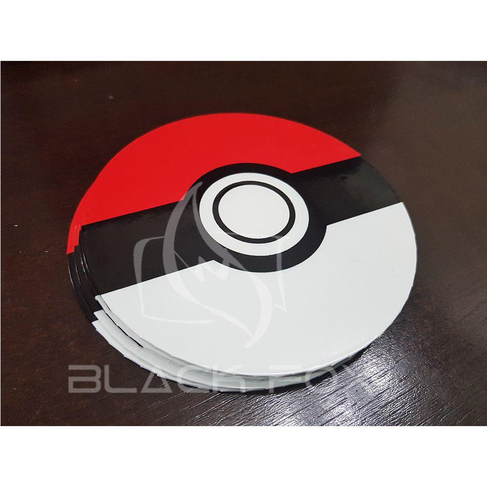 Porta Copos Artesanal Kit Com 6 Bolachas Cd Pokemon Pokebola