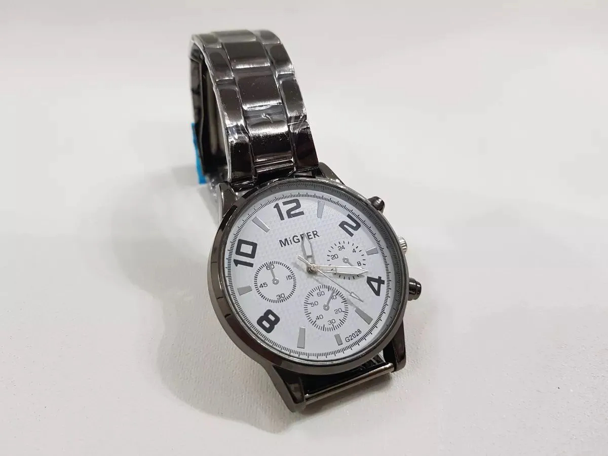 Relógio Migeer Branco Cromado Adulto G2028