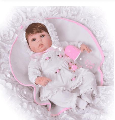 Boneca bebê reborn de silicone 42 cm