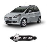 Emblema Adesivo Flex Linha Fiat Cromado Resinado Preto