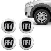 Kit Adesivo De Calota Emblema Fiat Black Piano Resinado 48mm