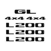 Kit Adesivos Mitsubishi L200 Gl 4x4 Preto Emblemas Resinados