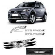 Kit Adesivos Prata Sandero Stepway 2008 + Soleira Black Over