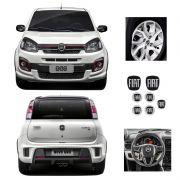 Kit Completo Emblemas Fiat Black Piano Uno Novo Resinado