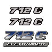 Kit Emblemas Mercedes 712 C Eletrônico Adesivos Resinados Mb