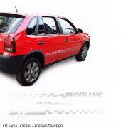 Kit Faixa lateral + Adesivo Traseiro Gol Rallye G4 Prata