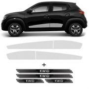 Kit Faixa Prata Renault Kwid 2018/2019 + Soleira Protetora