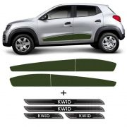 Kit Faixa Verde Lateral Kwid 2018/2019 + Soleira Protetora