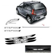 Kit Sandero Stepway Prata 2008 + Friso + Soleira Black Over