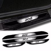 Kit Soleira Da Porta Peugeot 206 1999 a 2012 Com Black Over
